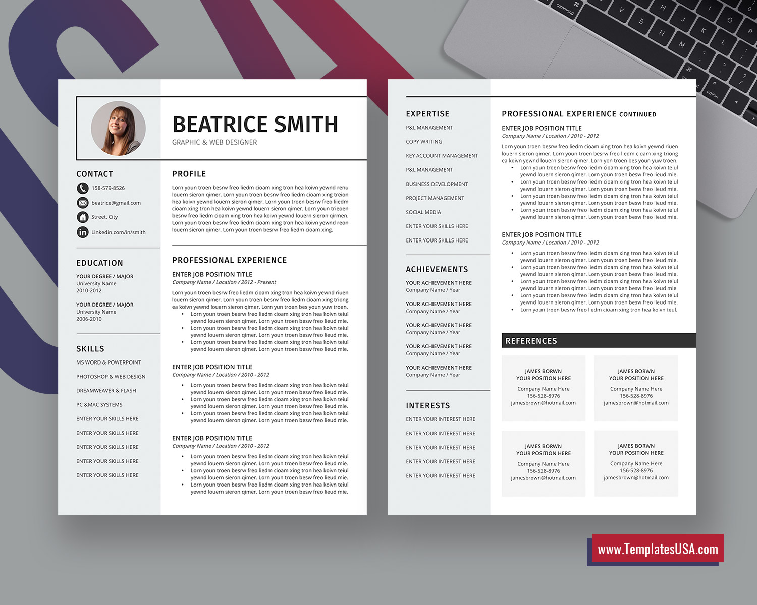 2020 Creative And Simple Ms Word Resume Template Curriculum Vitae