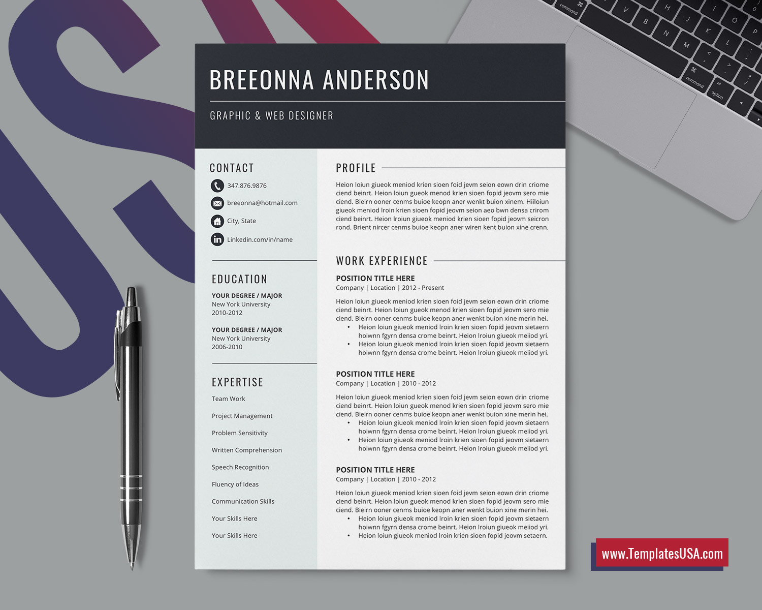 Professional Cv Template For Ms Word Cover Letter Curriculum
