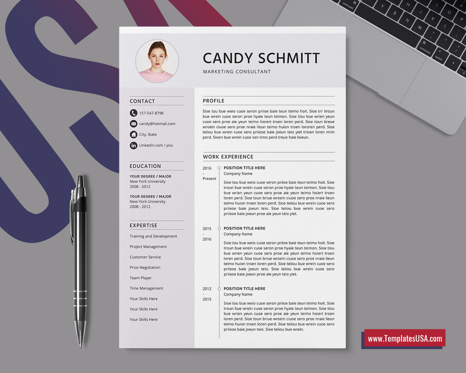 Modern Resume Template 2016 from www.templatesusa.com