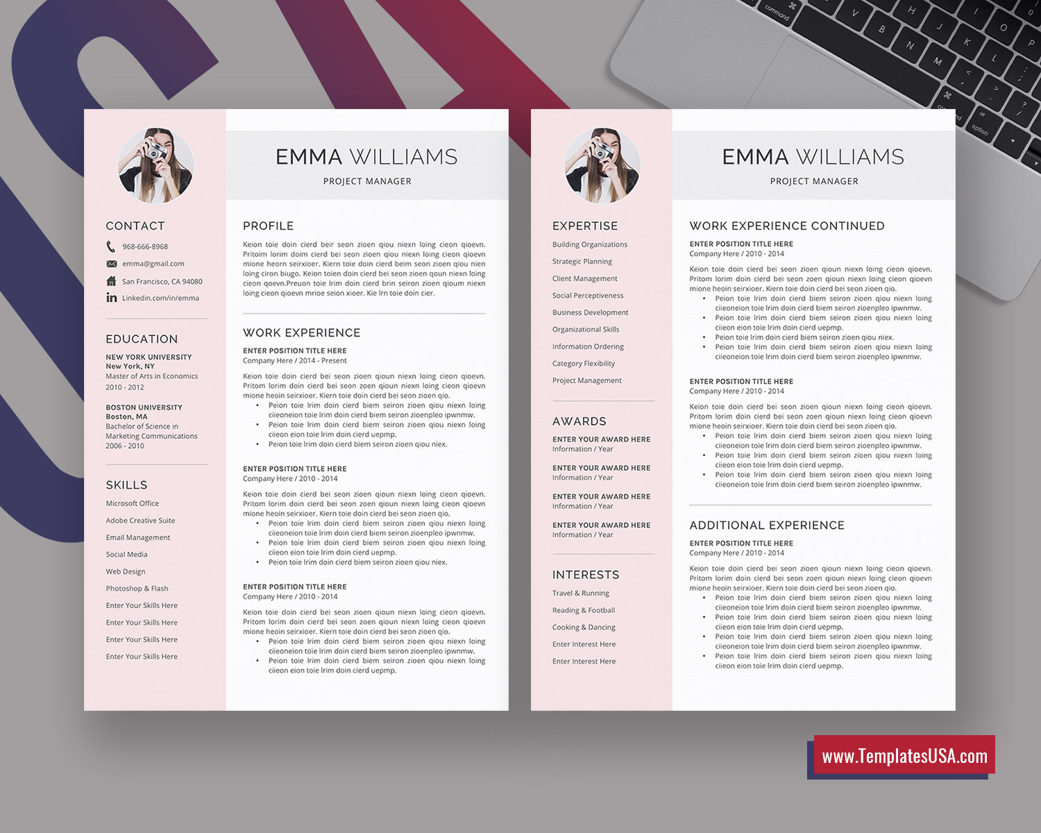 Modern Resume Word Template from www.templatesusa.com