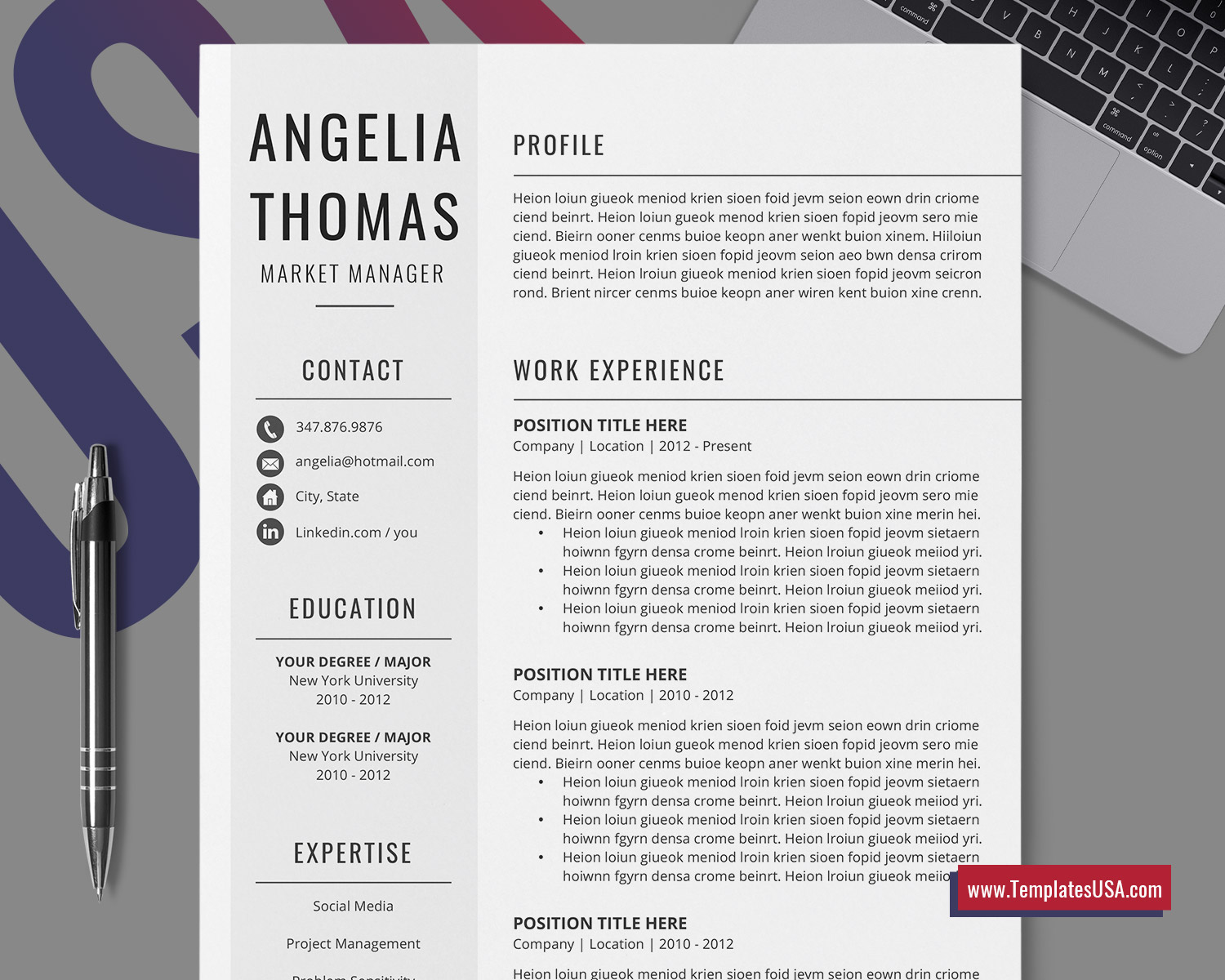 Minimalist Resume Template For Ms Word Simple Cv Template Design