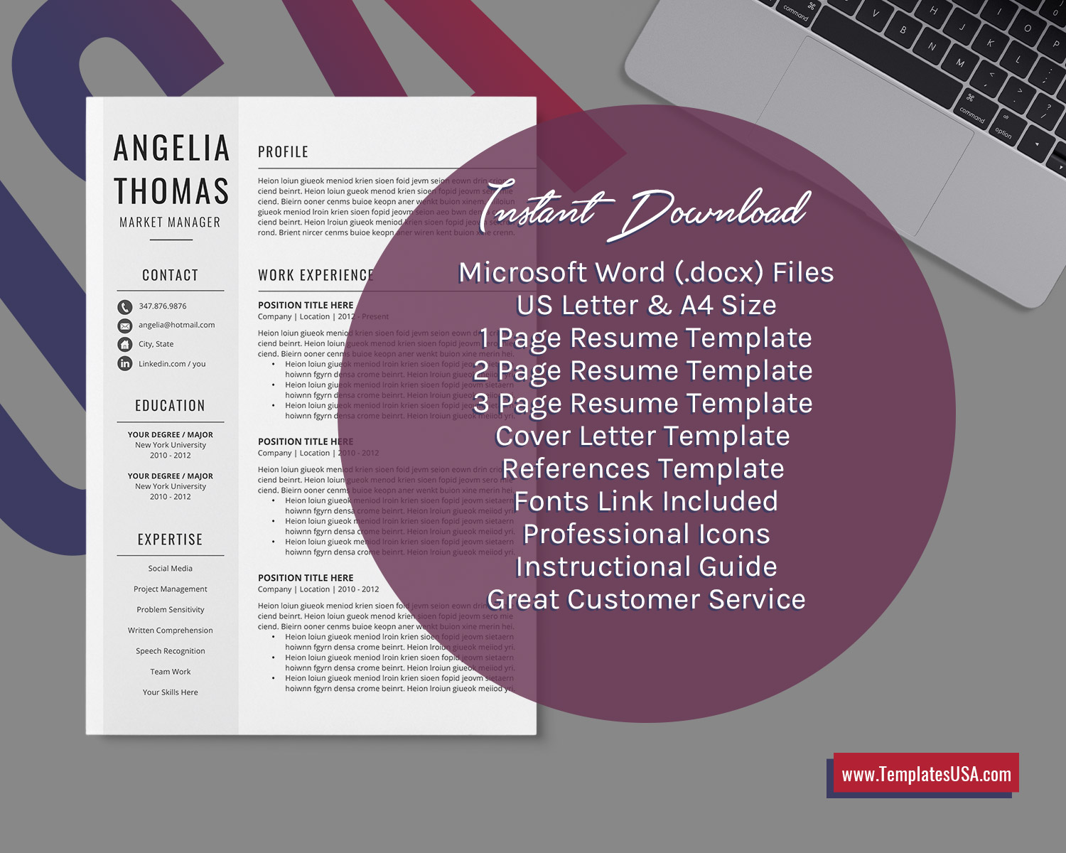 Minimalist Resume Template For Ms Word Simple Cv Template Design Curriculum Vitae Modern Cv Format Professional And Creative Resume 1 3 Page Resume Job Resume Instant Download Templatesusa Com