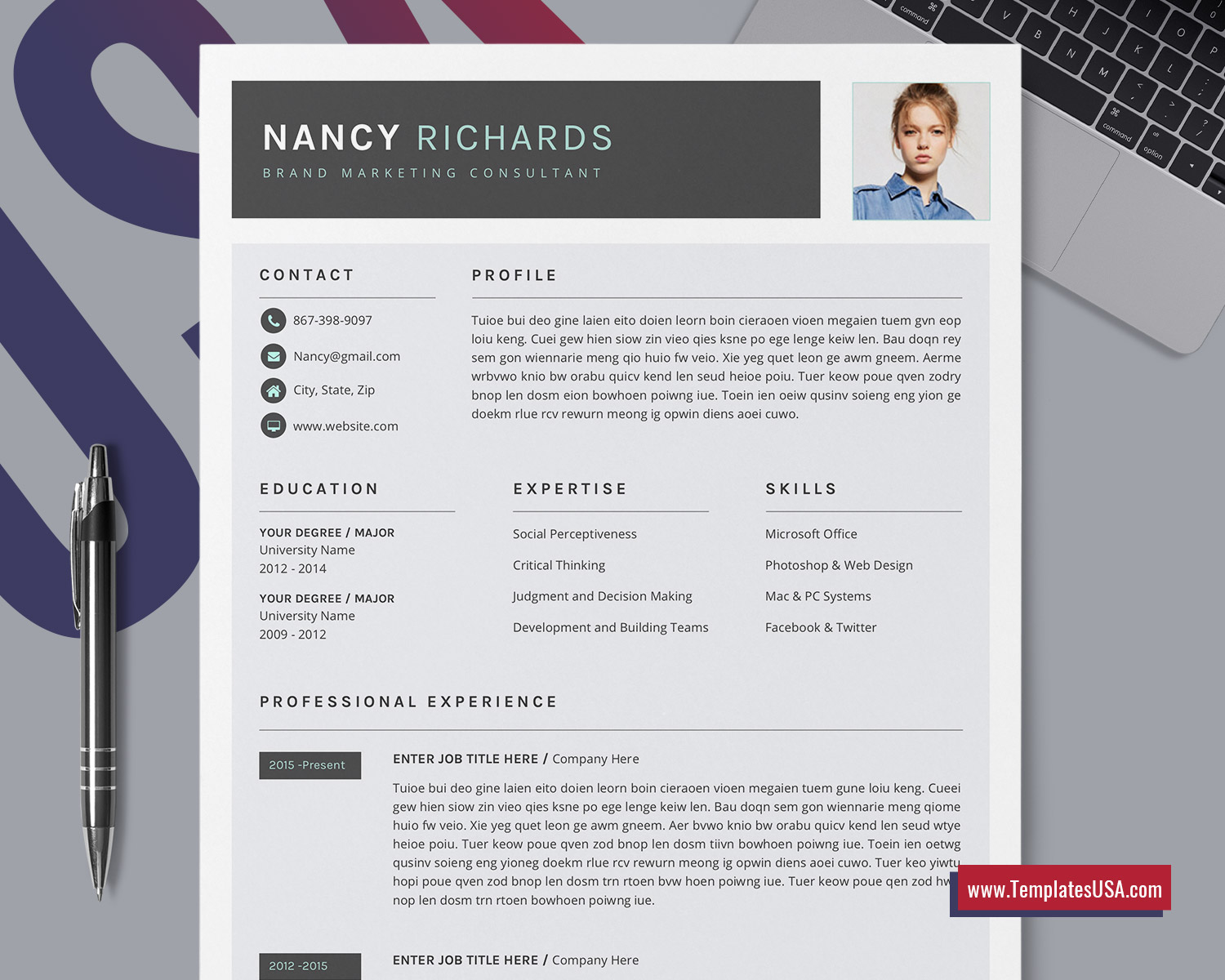 Modern Resume Template For Ms Word Creative Cv Template