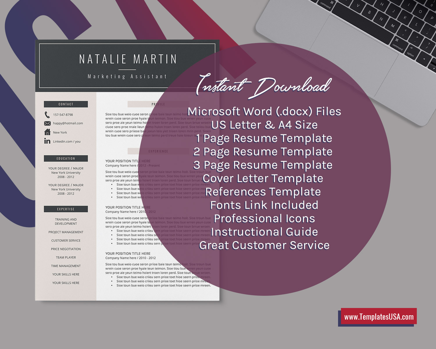 Ms Word Resume Cover Letter Template from www.templatesusa.com