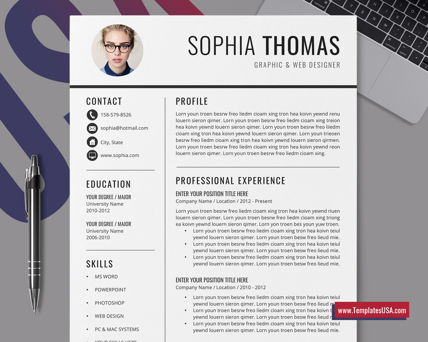 Professional Resume Template Simple Resume Format Minimalist Curriculum Vitae Modern Cv Template Cover Letter 1 3 Page Resume Design Editable Resume For Job Application Instant Download Templatesusa Com