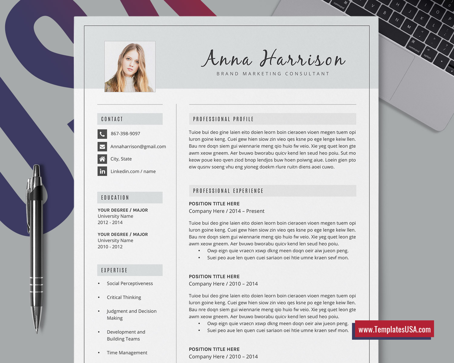 Modern Resume Template Word Creative Cv Template Design