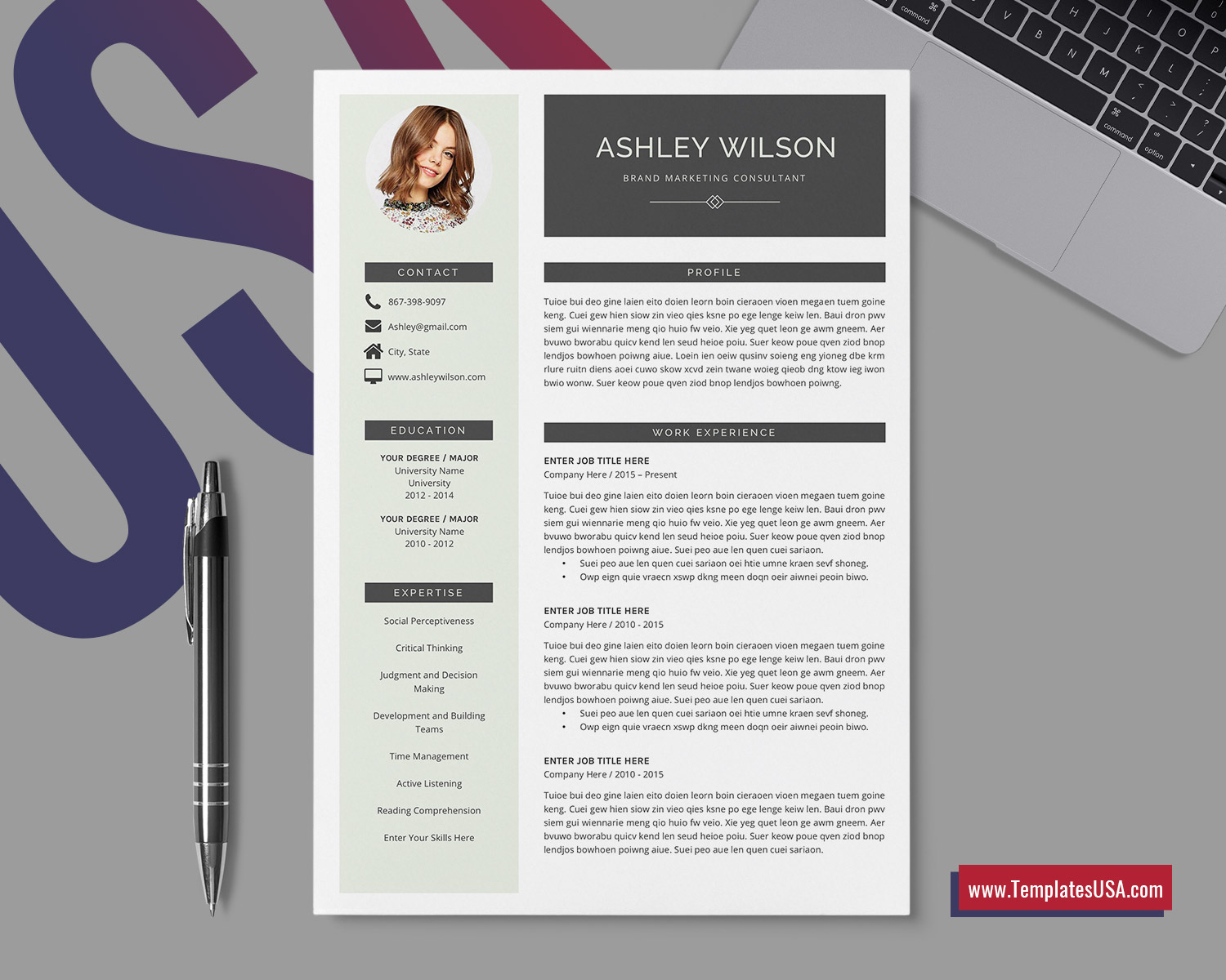 Creative Resume Template For Word Curriculum Vitae Modern Cv