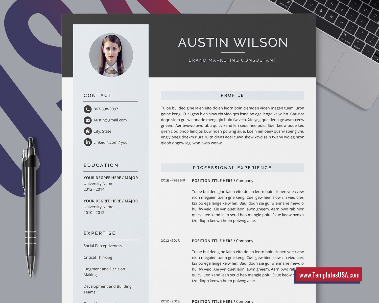 Professional Cv Template For Ms Word Cover Letter Curriculum Vitae Modern Resume Template Design Creative Resume Format Editable 1 3 Page Resume For Job Application Instant Download Templatesusa Com