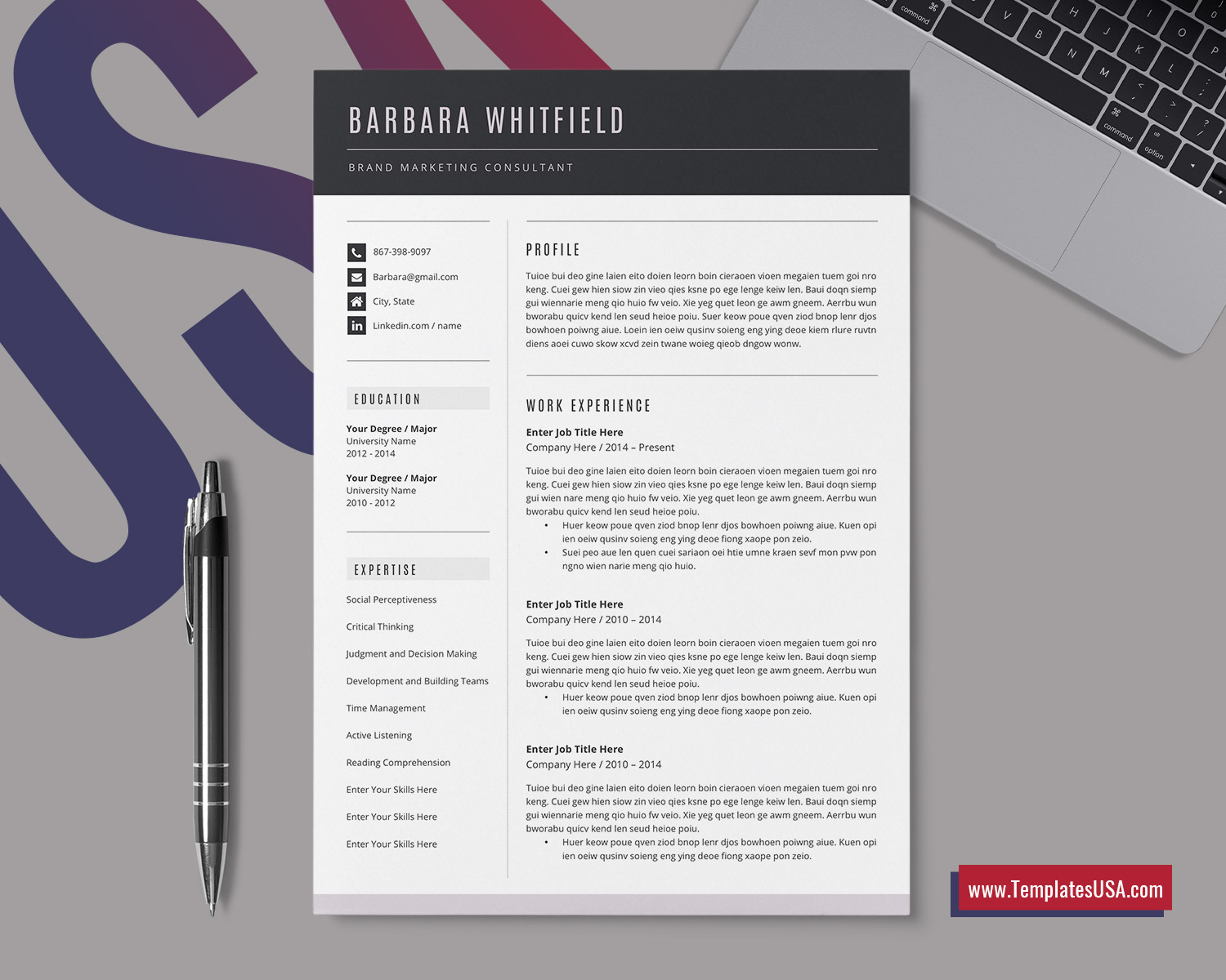 Modern Resume Template For Word Creative Cv Template